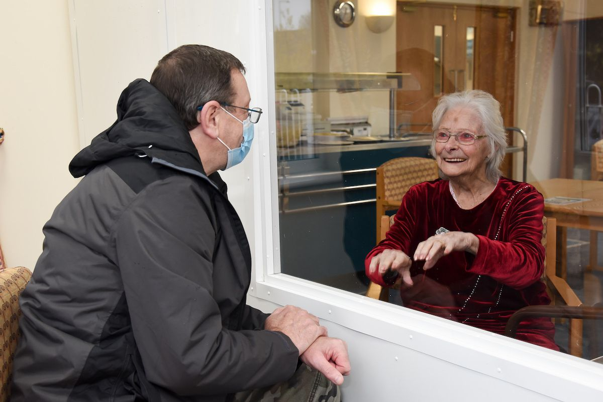 Paul Cooke is reunited with his mother Lillian, a resident at Barclay Gardens in Donnington.