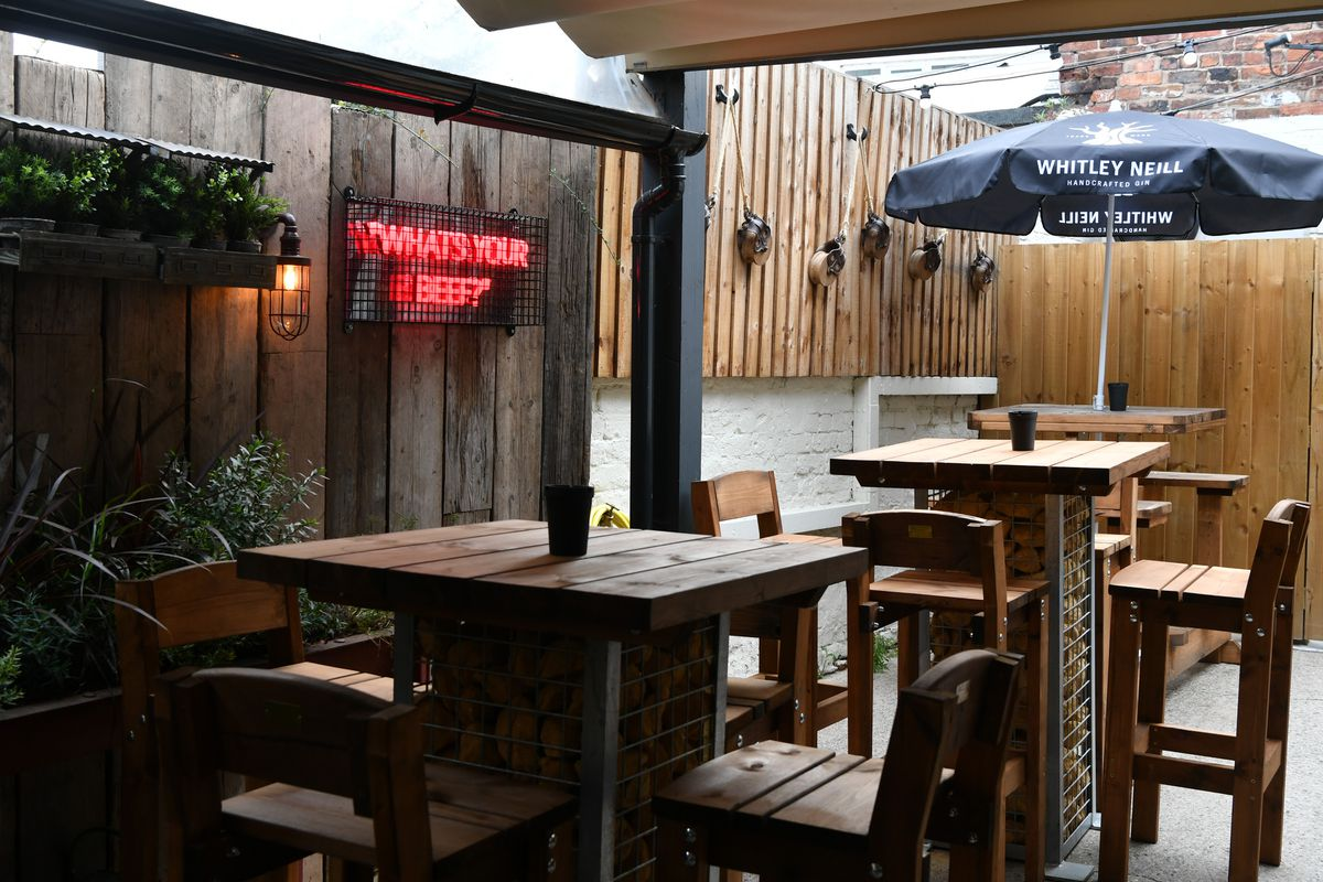 The pub's refurbished courtyard
