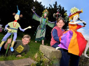 BORDER COPYRIGHT SHROPSHIRE STAR STEVE LEATH 01/05/2021..Pic in Ellesmere where in the park, local arts group: Fizzgig, had an event with Sprite characters and music. Competition winners who came up with a name for a Sprite. L-R: Joshua Humphreys 6 called his: Jebbadiah, and Evie-Rose Rodenhurst 8 called hers Rainbow Rosie. Numbers below..
