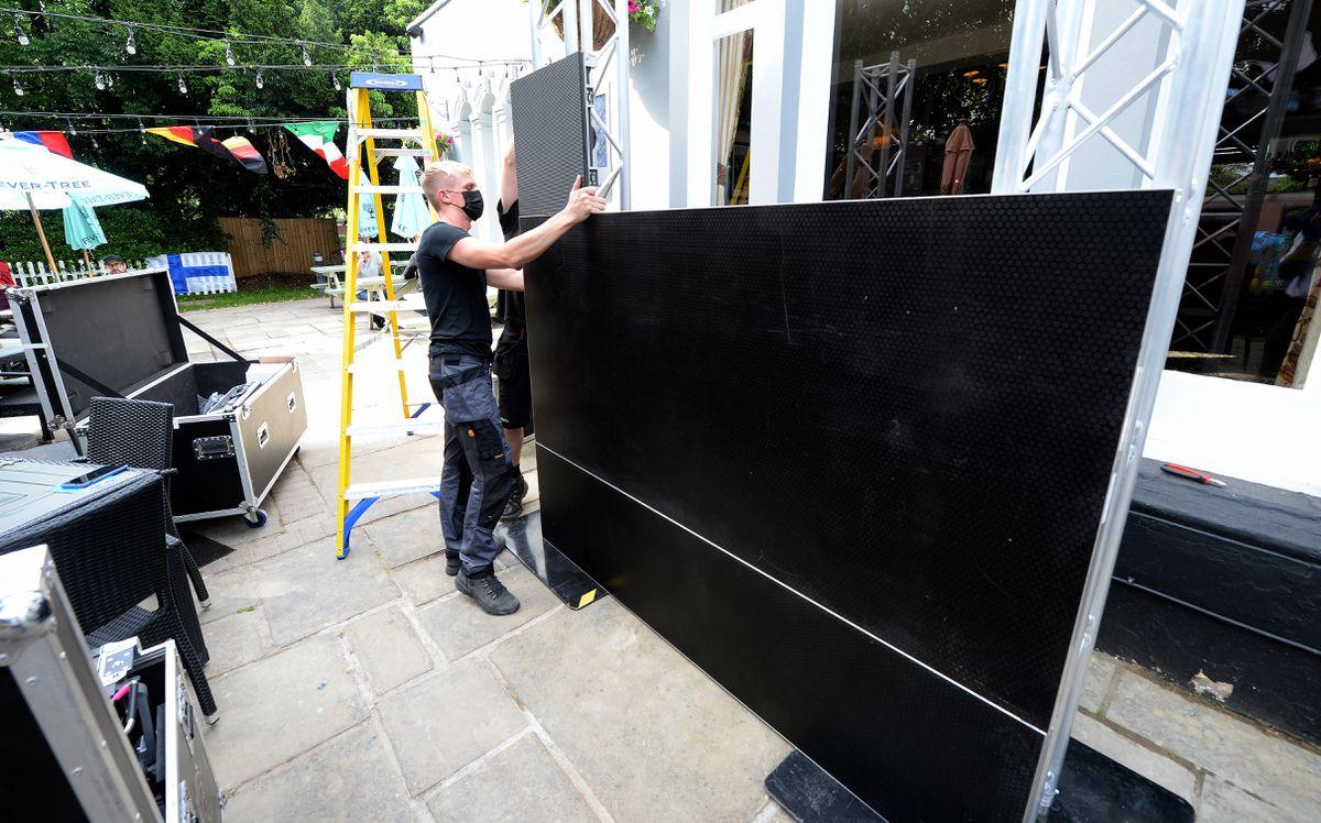 A big screen is being put together at The Abbey, Shrewsbury