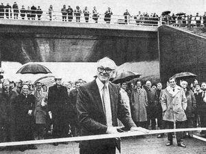 Transport Secretary Nicholas Ridley opens the M54 motorway on November 25, 1983.