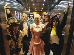 It's just a jump to the next floor: The cast of The Rocky Horror Show surprise hotel guests with Time Warp trip - with video