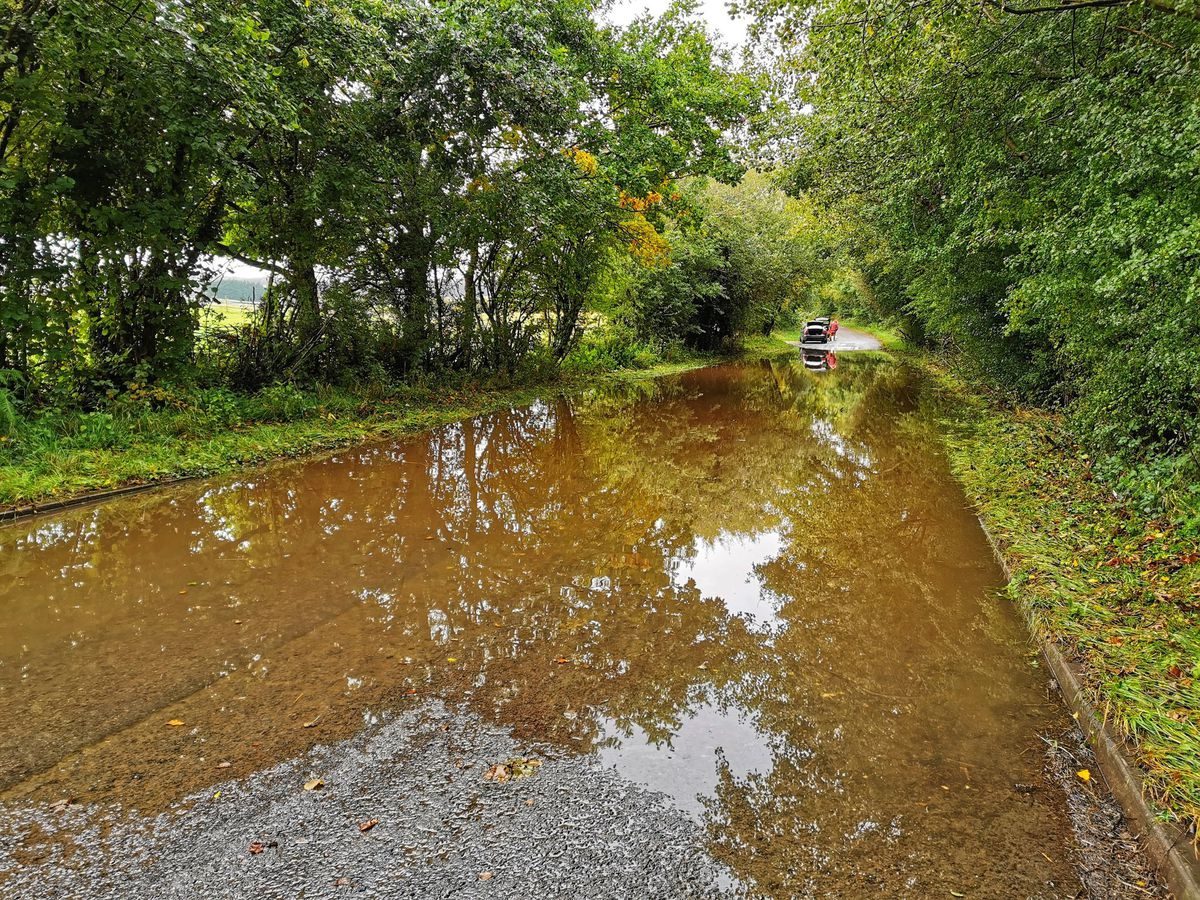 Flooding on Dog in the Lane in Little Wenlock, Telford. Photo: Liam Ball
