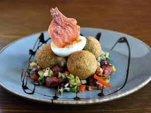 Black pudding bon bons came with a lovely, crispy coating and a chorizo salad